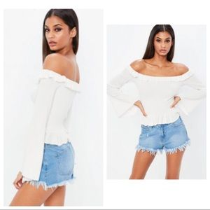 Missguided Frill Bardot Flare Sleeve Crop Top